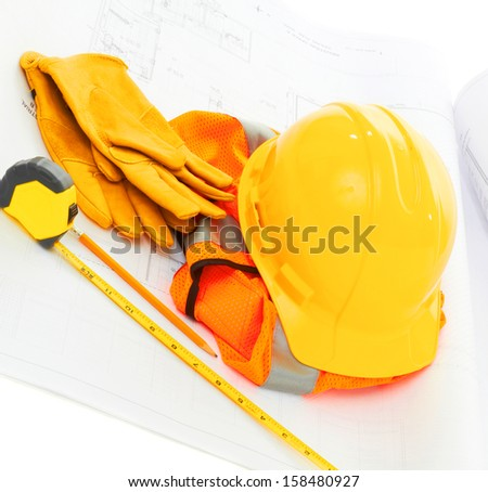 Construction equipment isolated on white background with copy space - stock photo