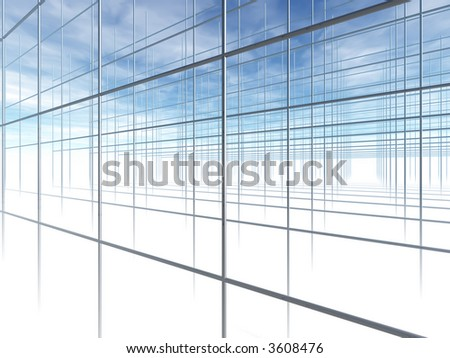 Construction Frame. Abstract shapes from a modern building. 3D render. - stock photo