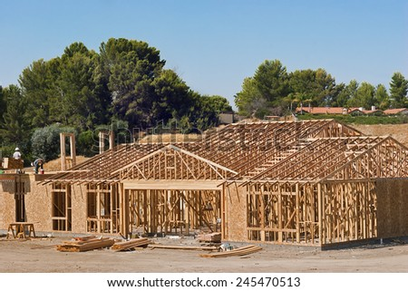 Construction frame of a new house  - stock photo