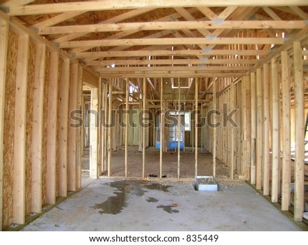 Construction - Framed Interior - stock photo