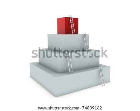 construction from boxes isolated on white - stock photo