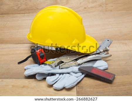 construction hat and gloves white backgrund - stock photo