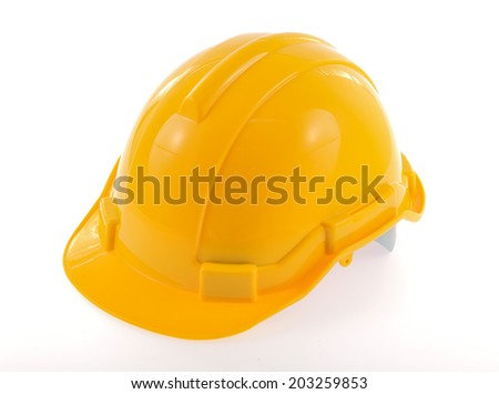 Construction hat isolated on white background - stock photo