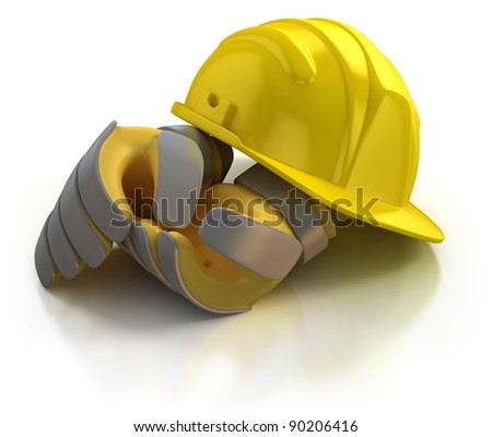 construction helmet and gloves isolated on white background - stock photo