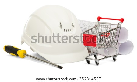 Construction helmet, screwdriver and shopping cart on isolated white background - stock photo