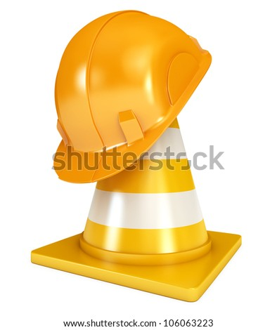 Construction Helmet. Traffic cones. Icon isolated on white background. 3d render - stock photo