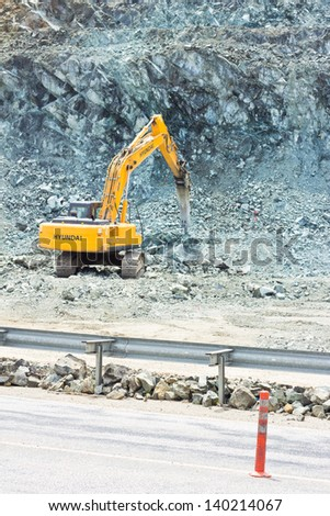 construction high up in the mountains - stock photo