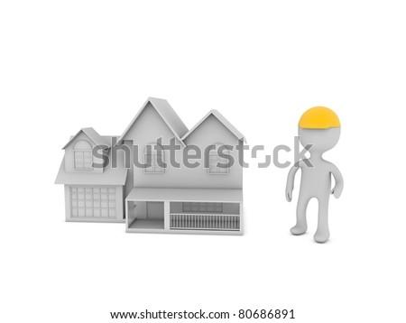 construction home - stock photo