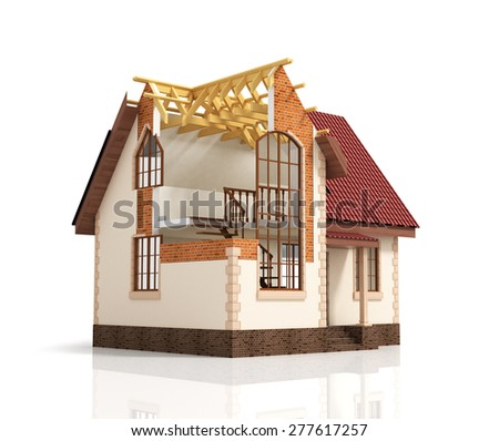Construction house plan design blend transition illustration. Construction process with dimension. - stock photo