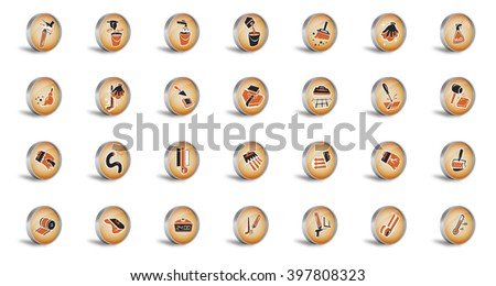 Construction Icons - tile application process - stock photo