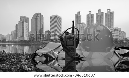 Construction  in city work Safety set and communication. - stock photo