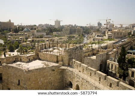 Construction in Jerusalem, viewed from the Citadel - stock photo