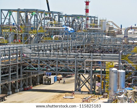 Construction industrial refinery plant - stock photo