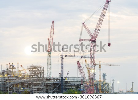 Construction Industry , Construction oil refinery , working site , Oil Rig - stock photo