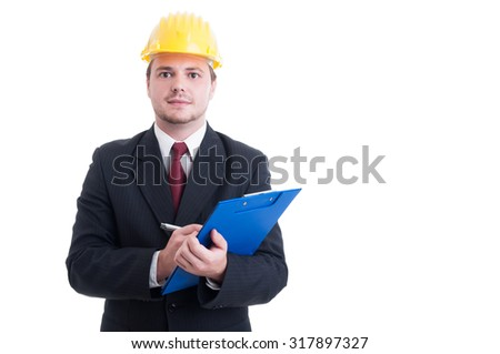Construction inspector with suit and hardhat holding clipboard isolated on white - stock photo