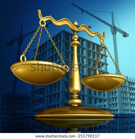 Construction law concept as a justice scale over a working building site with cranes and a structure being built as a concept for architecture permits and real estate regulations. - stock photo