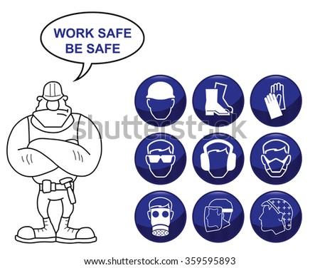 Construction manufacturing and engineering health and safety related icon set isolated on white background with work safe be safe message - stock photo