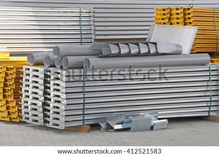 Construction Material For Shelving System in Distribution Warehouse - stock photo