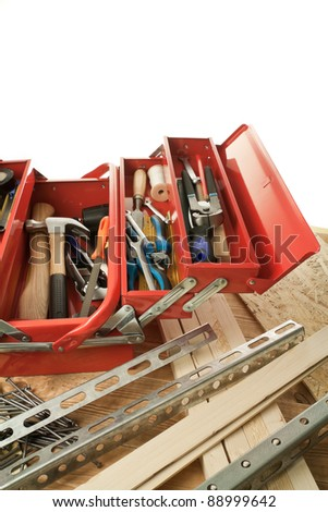 Construction materials and tool box. - stock photo