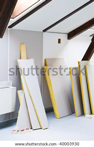 construction materials for interior renovation - stock photo