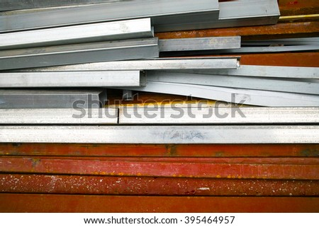 Construction materials. Rectangular section pipe. Rusted steel. - stock photo