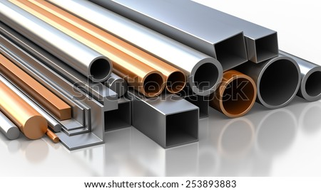 Construction materials. Set of rectangular, round, square steel and copper tubes and pipes, Industrial 3d illustration. - stock photo
