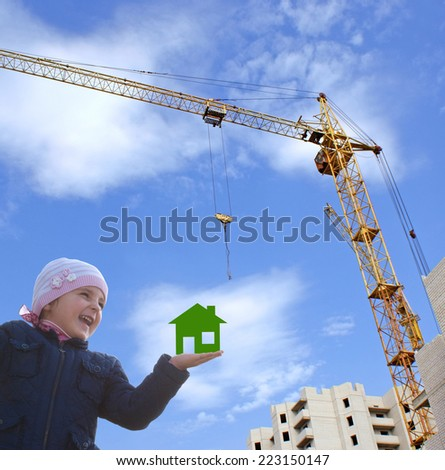 Construction new house for family happy little girl - stock photo