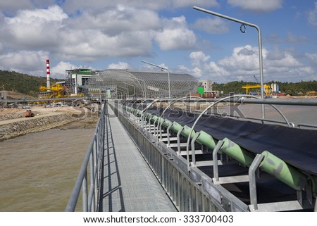 Construction of a coal fired power plant in the Philippines - stock photo
