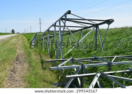 Construction of a high-voltage power line. Stages of installation of mast support and wires. - stock photo