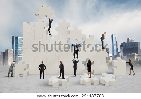 Construction of a new and collaborative company - stock photo