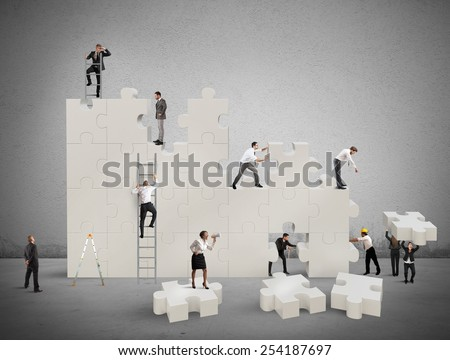 Construction of a new and collaborative team - stock photo