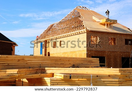 Construction of a new private houses settlement. Canada.  - stock photo