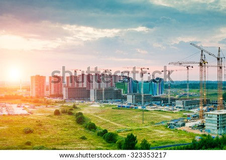 Construction of a new residential houses - stock photo