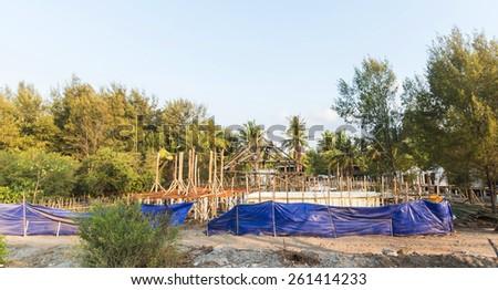 Construction of Beach bungalow - Gili TrawanganInonesia - stock photo