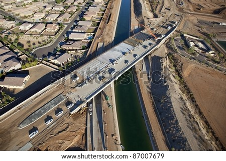 Construction of Bridge over Canal - stock photo