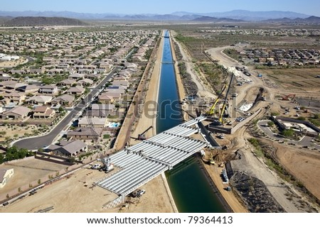 Construction of Bridge over the Central Arizona Project, CAP - stock photo