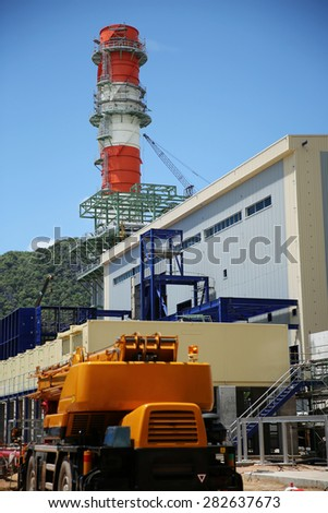 Construction of gas combine cycle power plant with cooling water piping system in Khanorm province, southern region of Thailand. - stock photo