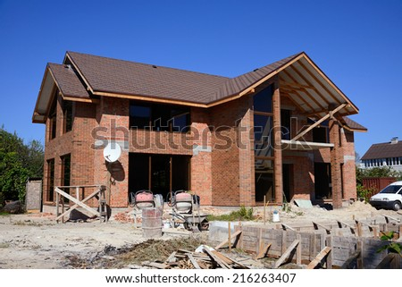 construction of homes - stock photo