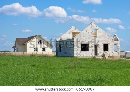 Construction of houses of white silicate blocks - stock photo