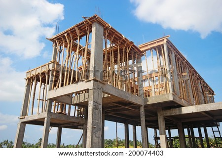 Construction of housing in a suburb - stock photo