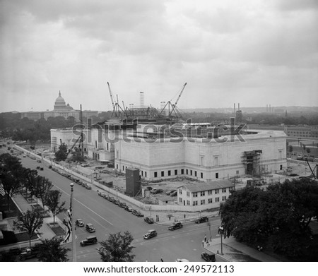 Construction of National Gallery of Art, Washington, D.C., ca. 1939. In 1937, Andrew Mellon donated his art collection, plus $10 million for construction of the National Gallery of Art. - stock photo