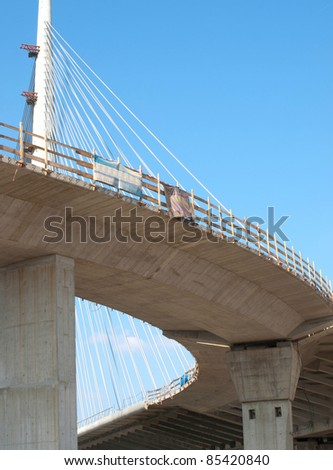 Construction of new bridge / Bridge / Belgrade, Serbia - stock photo