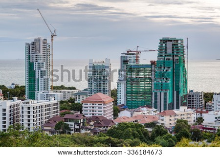 Construction of new luxury apartment buildings in Pattaya - stock photo