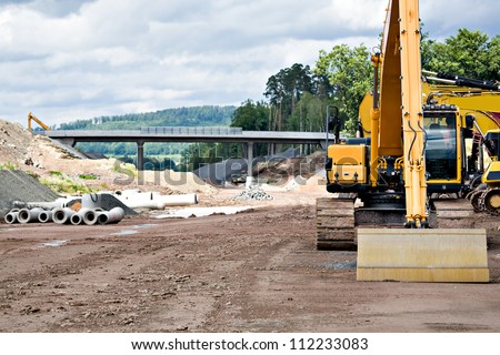 Construction of new motorway in Germany - stock photo