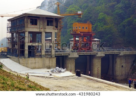 Construction of power plant in Nepal - stock photo