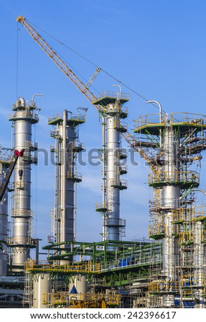 Construction of refining plant - stock photo