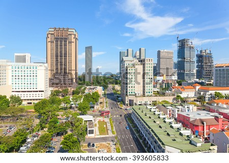 Construction of Skyscrapers at Bugis Street Shopping District in Singapore daytime - stock photo