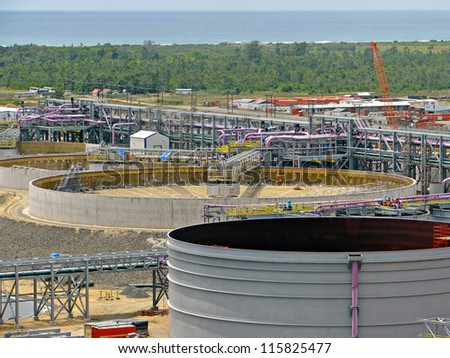 Construction of tanks, pipes and classifier - stock photo