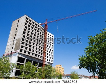 Construction of the new residential house in Ulaanbaatar, Mongolia - stock photo