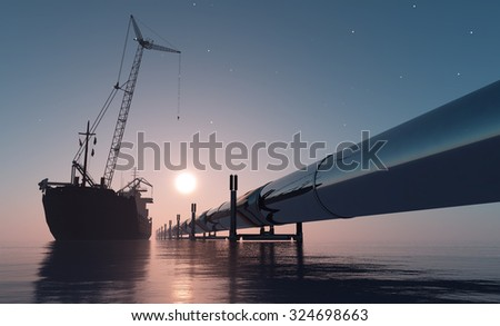 Construction of the pipeline into the sea. - stock photo